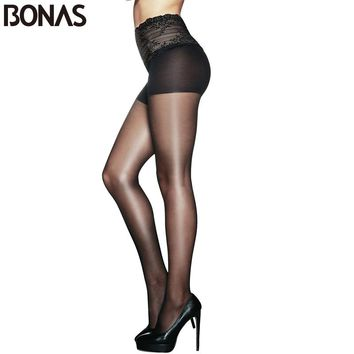 Nylon Tights For Women Hollow Lace Waist Fashion Stretchy Spandex Pantyhose Slim Girls Sexy Solid Color Clothing