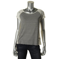 Maison Jules Womens Lace Striped Pullover Top