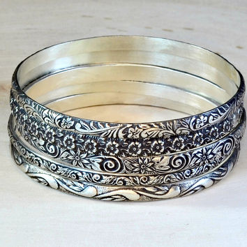 Boho Stackable Bangle set with floral designs in Sterling Silver