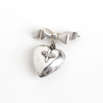 Vintage Sterling Silver Prop & Wings Puffy Heart Pendant Bow Brooch - 1940s USA Airforce Aviation Pilot Military Charm Sweetheart Jewelry