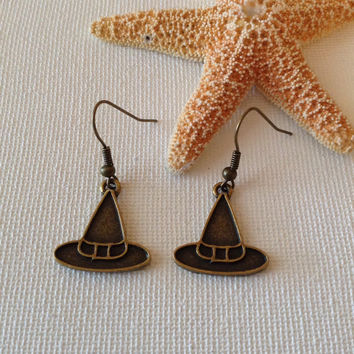 Witch hat earrings, halloween, bronze earrings, nickel free, bronze witch hat earrings