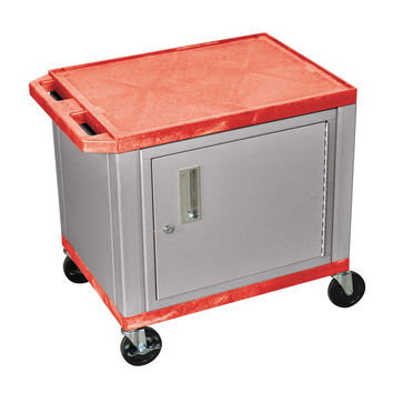 H.Wilson 2-Shelf Multipurpose Red Nickel Commercial Service Utility Cart Lockable Storage Cabinet 4 Lockable Casters