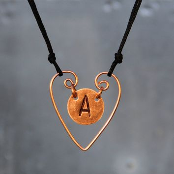 Personalized heart intial monogram charm necklace copper sterling Bridesmaids gifts Free US Shipping handmade Anni Designs