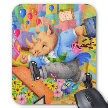 Busy rhinoceros mouse pad