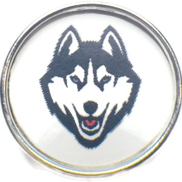UCONN Connecticut Huskies College Logo Fashion Snap Jewelry University Snap Charm