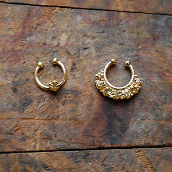 Tribal Topaz Faux Septum Piercing , Gold Clip On Septum Ring