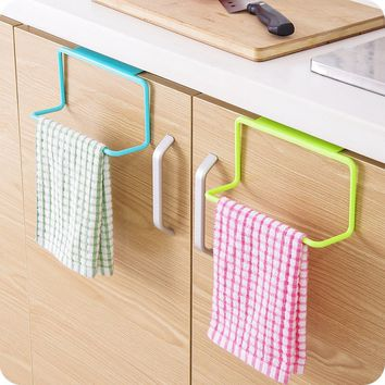 Kitchen Cabinet Door Single Bar Towel Rack Plastic Traceless Cloth Hanger Towel Bar Multipurpose Hanging
