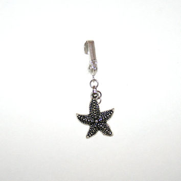 Clip on fake belly button starfish with or without waist chain - fake belly ring - fake navel ring - fake navel button