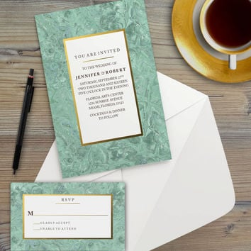 Instant Download - Mint Marble Gold Wedding Bridal Baby Shower Birthday Anniversary Party Invitation RSVP Template