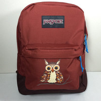 JanSport SuperBreak Backpack with Hand Painted Owl