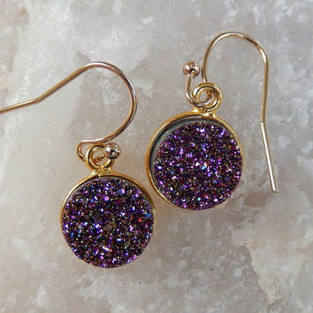 Purple Druzy Earrings Gold Drusy Quartz Drops - Free Shipping Jewelry