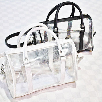 White Leather Clear Barrel Bowling Crossbody Bag Messenger Transparent Handbag Party Travel Shoulder Bag