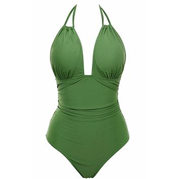 New Women Vintage One Piece Swimwear Backless Tummy Control Swimsuit Halter Push up Bathing Suit