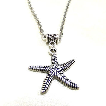 Silver Starfish Necklace, Nautical Necklace, Silver Necklace, Simple Necklace, Star of the Sea, Sea Lovers Gift, Simple Gift, Star Necklace
