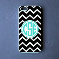 Chevron Monogrammed Iphone 5 Case - Black Monogram Iphone 5 Cover