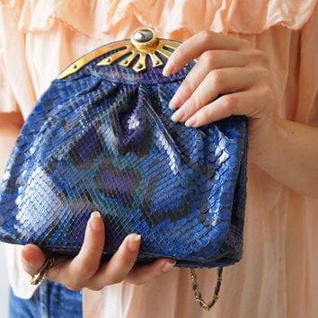 Vintage ALFRED ROTH  reptile Skin Clutch purse blue Chain Scaly frame Hand made shoulder Bag  West Germany Free Shipping