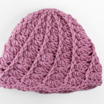 Pink Crochet Baby Hat // Spiral Shell Baby Girl Beanie // Rosy Pink Newborn Hat // 0 to 3 Month Size