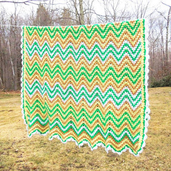 Green Crochet Afghan Pattern : Best Zig Zag Crochet Afghan Products on Wanelo