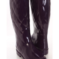Purple Quilted Textured Rubber Rain Boots