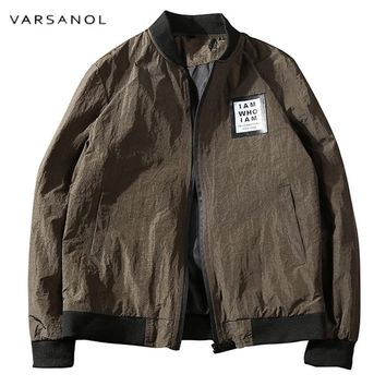 Solid Spring Windbreaker Jacket Men's Military Bomber Jackets V-neck Casual Style Outwear With Zipper Coat