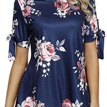 HOTAPEI Womens Floral Stripe Bow Tunic Ruffled Sleeve Knotted Hem TShirts Casual Top Blouses