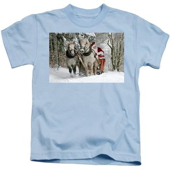 Santa Sleigh With Horses - Kids T-Shirt