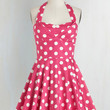 50s Short Length Halter Fit & Flare Traveling Cupcake Truck Dress in Pink