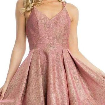 Stylish Back Metallic Short Homecoming Dress Coral/Gold
