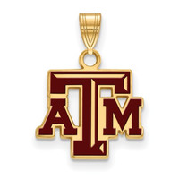 Texas A&M Sterling Silver Small Enamel Pendant