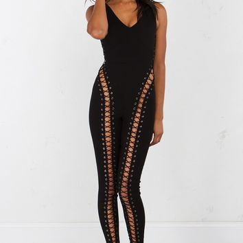 Sleeveless Lace Up Jumpsuit in Black