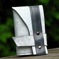 Trifold Leather Billfold Wallet for Men and Women - Neopolitan - Distressed Gray