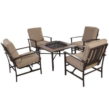 Goplus 5 PCS Patio Furniture Set Chair & Fire place Stove Fire Pit Steel Frame