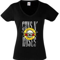 GUNS N ROSES 1 T-Shirt Womens Black Fruit Of The Loom High Quality DTG