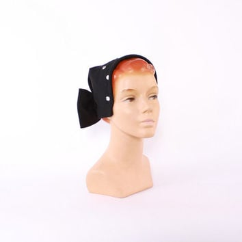 40s Studded Rhinestones HAT / 1940s Black Wool Jersey & Large Bow