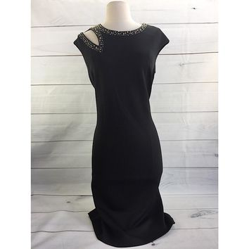 Calvin Klein Embellished Black Dress, Size 12