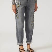 J90 Relaxed Fit Jeans With Flower Details for Women | Emporio Armani