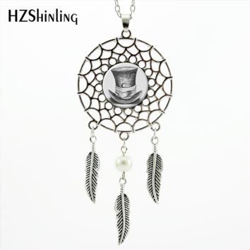 2017 Trendy Style Mad Hatter Necklace Dream Pendant Alice Wonderland Hat Jewelry Silver Dreamcatcher Necklace NDC-0040
