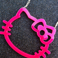 Huge XL Pink Acrylic Hello Kitty Necklace
