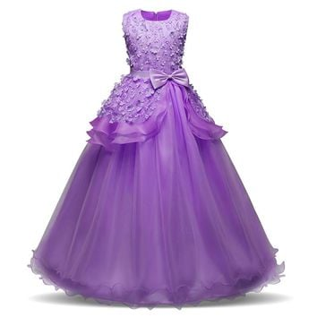 Long Elegant Kids Princess Dresses For Girls Wedding Prom Gown Junior Child Birthday Party Dress Girl Clothes Girl's Clothing