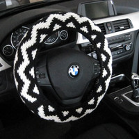 Knit Steering Wheel Cover, Wheel Cozy - black/natural (KSWC4)