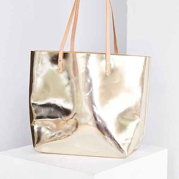 Cold Picnic Metallic Leather Tote Bag- Gold One