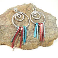 Silver Wire Earrings, Hammered Wire, Aluminum Earrings, Lightweight Earrings, Dangle Earrings, Colored Chimes