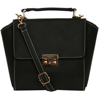 Olivia Front Clasp Detail Winged Bag in Black