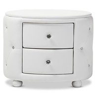 Baxton Studio Davina Hollywood Glamour Style Oval 2-drawer White Faux Leather Upholstered Nightstand Set of 1