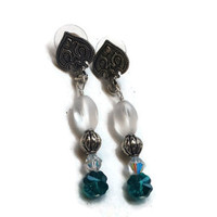 "Swarovski Emerald Shamrock Earrings with Crystal AB Bicones and Frosted Glass Beads in Silver - 2"" - EAR125"