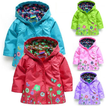 Cute Girl Kids Flower Print Hooded Coat Jacket Raincoat Clothing Tops 2-9 Y D_L = 1713282756
