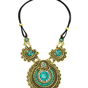 * BURNISH GOLD TURQUOISE MEDALLION NECKLACE  M