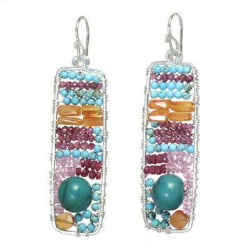 Turquoise and Ruby Sterling Silver Earrings