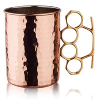 Hammered Brass Knuckles Copper Moscow Mule Mugs - set of 4