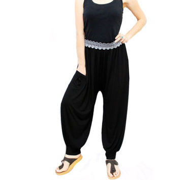 SALE/ Black baggy pants made of sweat with cuffs, Harem pants, Lace Belt, drop crotch sweatpants, yoga pants, casual trousers